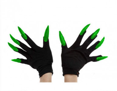 Guanti neri con unghie verdi