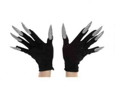 Guanti neri con unghie argentate adulto