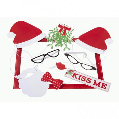 Kit photobooth Natale : Kiss me-1