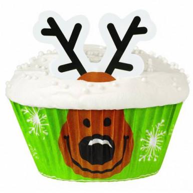 24 pirottini cupcakes con decorazioni renne Natale Wilton