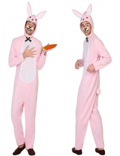 Costume coniglio bianco e rosa uomo