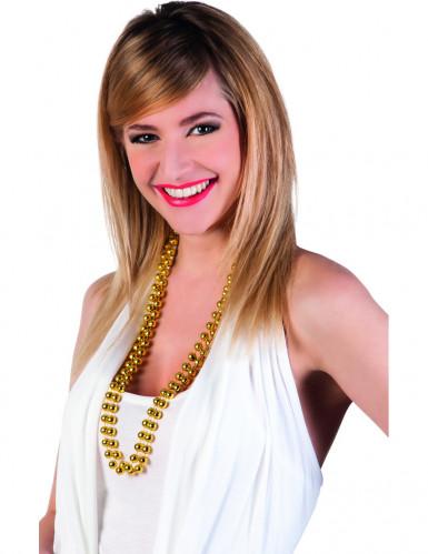 Due collane di perle dorate adulto
