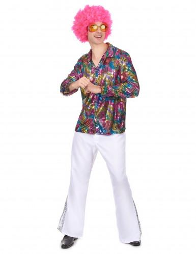 Costume camicia da disco technicolor da uomo