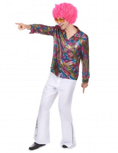 Costume camicia da disco technicolor da uomo-1