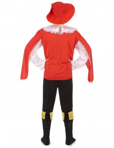 Costume moschettiere rosso e nero da uomo-2