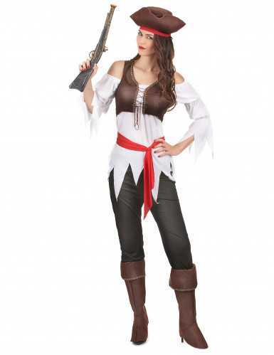 Costume con gilet da pirata donna