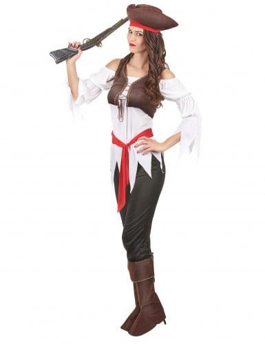 Costume con gilet da pirata donna-1