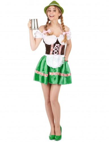 Costume da bavarese con gonna verde per donna
