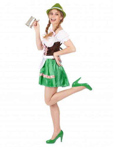 Costume da bavarese con gonna verde per donna-1