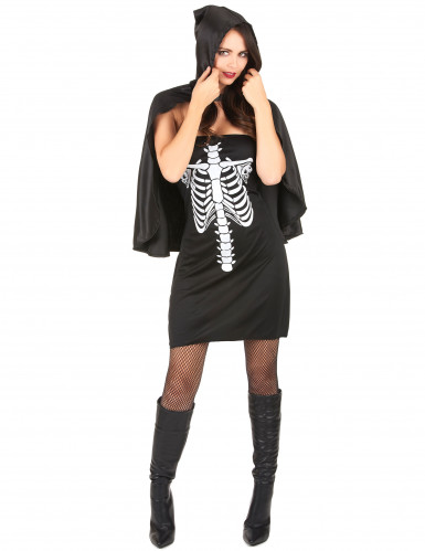 Costume scheletro cappuccio nero donna Halloween