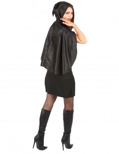 Costume scheletro cappuccio nero donna Halloween-2