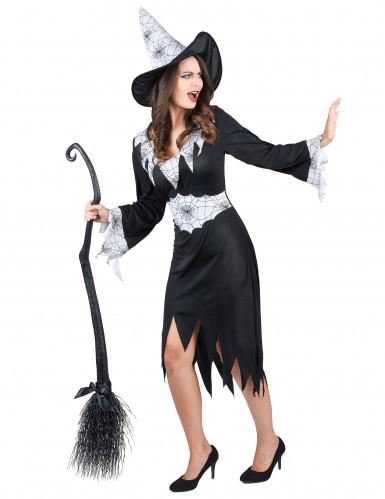 Costume da strega con dettagli ragnatela per donna-1