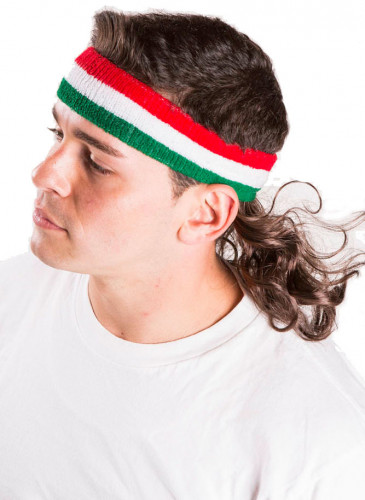 Fascia verde bianca e rossa con capelli-1