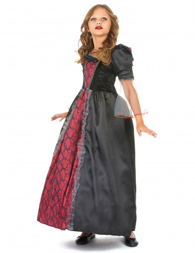 Costume da vampiro rosso e nero con pizzo bambina-1
