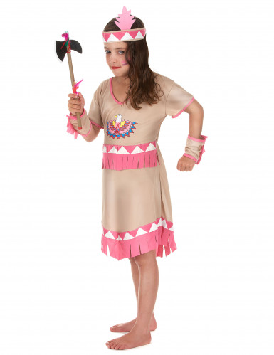 Costume indiana bianca e rosa per bambina-1