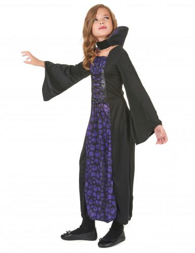 Costume vampiro viola con teschi bambina-1