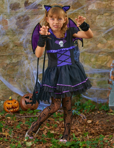 Costume da pipistrello viola bambina-3