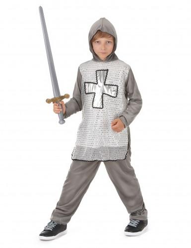 Costume cavaliere con croce argentata bambino-1
