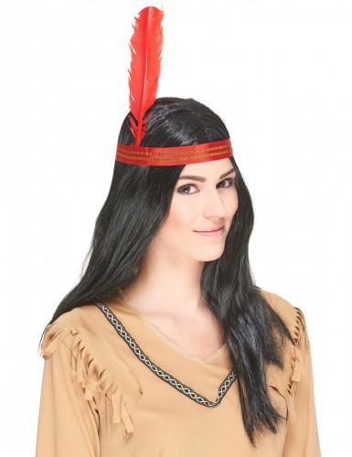 Parrucca da indiano con fascia e piuma