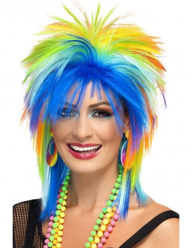 Parrucca multicolore anni '80 donna
