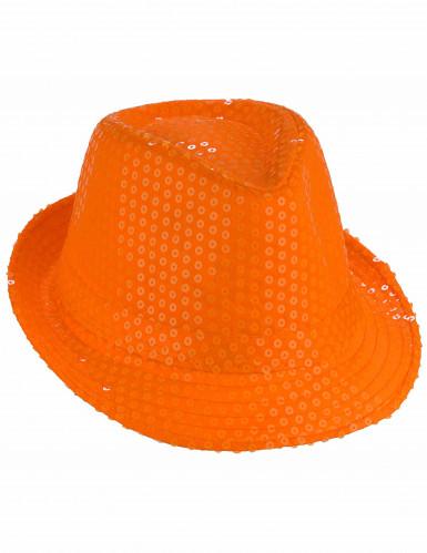 Cappello arancione con paillettes adulto