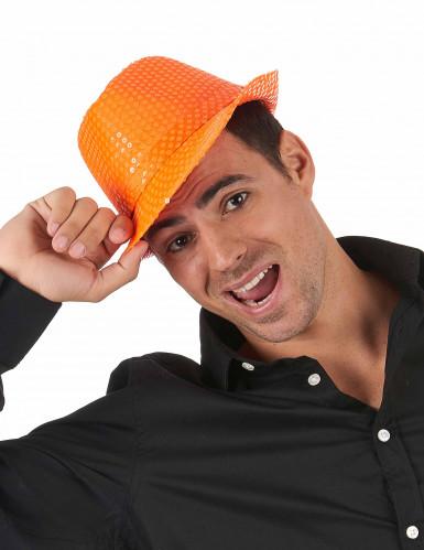 Cappello arancione con paillettes adulto-1