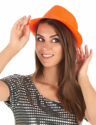 Cappello arancione con paillettes adulto-2