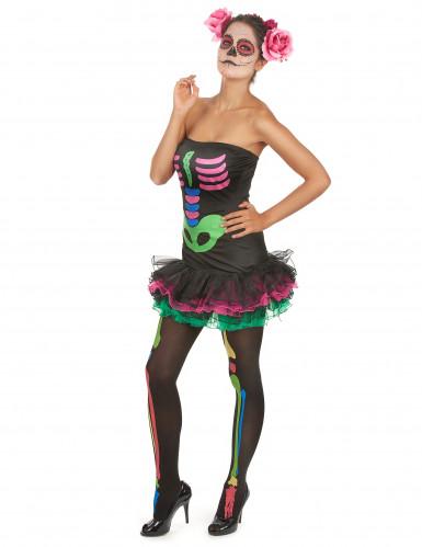 Costume da scheletro colorato per donna-2