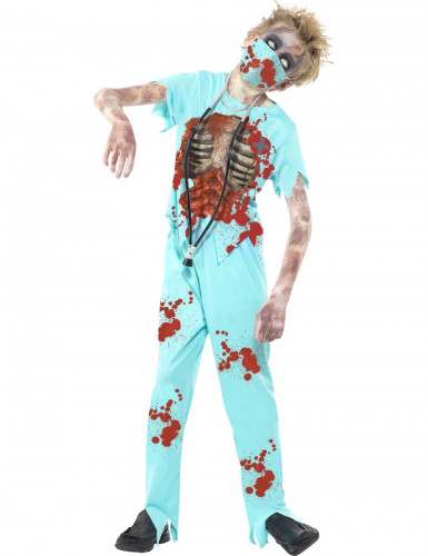 Costume azzurro dottore zombie bambino