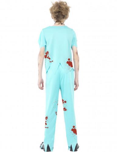 Costume azzurro dottore zombie bambino-2