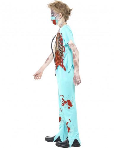 Costume azzurro dottore zombie bambino-1