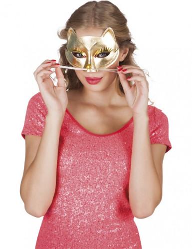 Maschera gatto dorato adulto