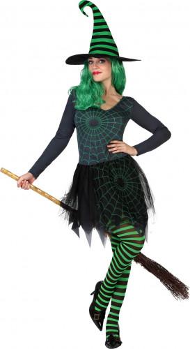 Costume strega ragno verde donna Halloween