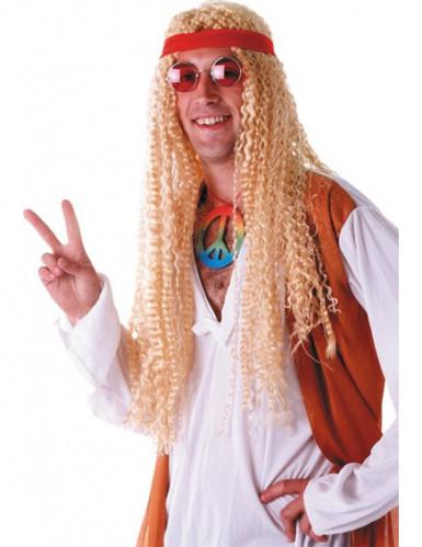 Parrucca hippie lunga bionda adulto