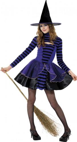 Costume da strega viola e nero da ragazza