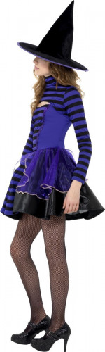 Costume da strega viola e nero da ragazza-1