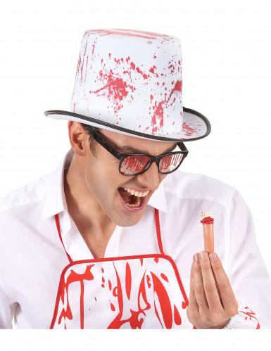 Cappello bianco insanguinato adulto Halloween-1