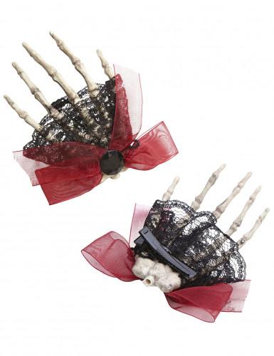 Fermaglio per capelli mano di scheletro per Halloween-1