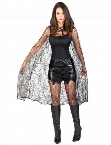 Mantello nero tela ragno donna Halloween