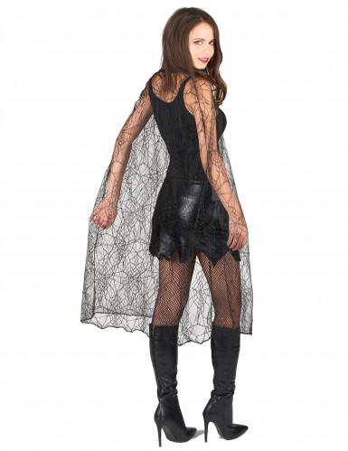 Mantello nero tela ragno donna Halloween-1