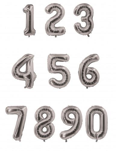 Palloncino alluminio numero argentato 85 cm-1