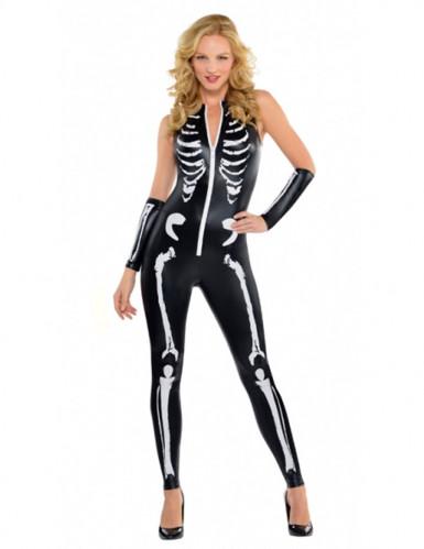 Costume tuta aderente da scheletro sexy donna Halloween