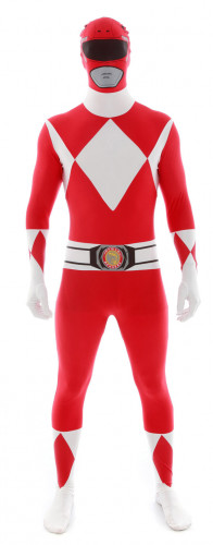 Costume seconda pelle Morphsuits™ Power Rangers™ rosso adulto