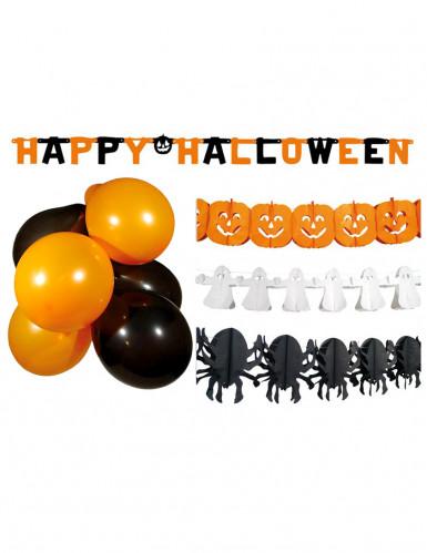 Kit di decorazioni nero e arancio per Halloween
