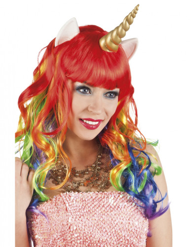 Parrucca multicolore per unicorno da adulto