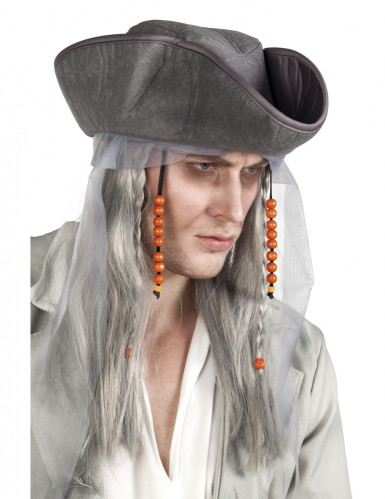 Parrucca grigia da pirata adulto