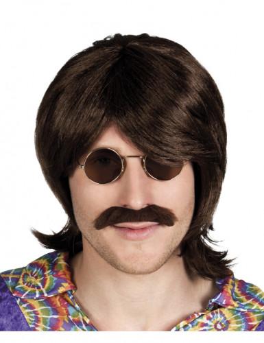 Parrucca e baffi marroni uomo