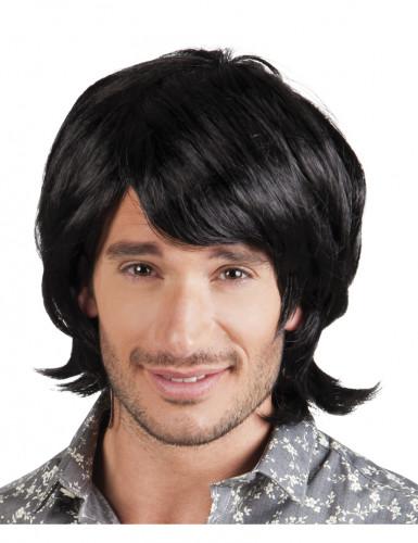 Parrucca nera uomo in stile disco