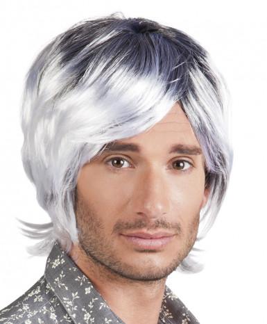 Parrucca grigia capelli corti uomo