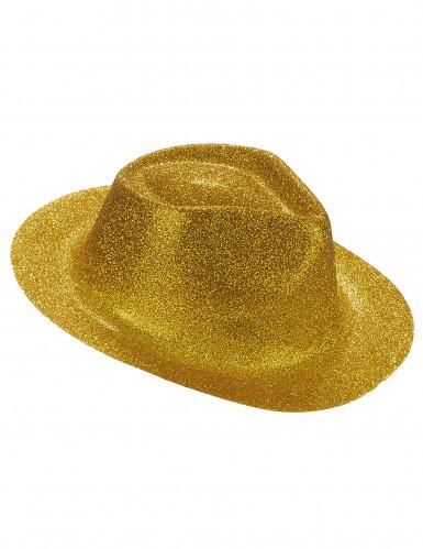Cappello borsalino con brillantini dorati per adulto